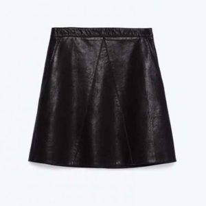 Zara A-line faux leather skirt size M